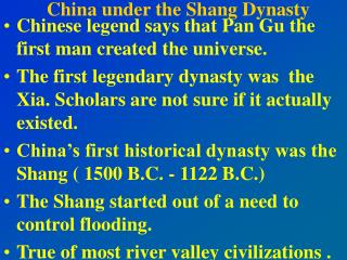 China under the Shang Dynasty