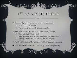 1 st  ANALYSIS PAPER