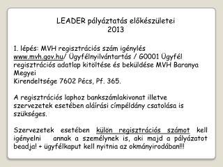 LEADER pályáztatás  előkészületei  2013