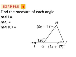 Find the measure of each angle. m < H  =  m <J  =  m <HGJ  =
