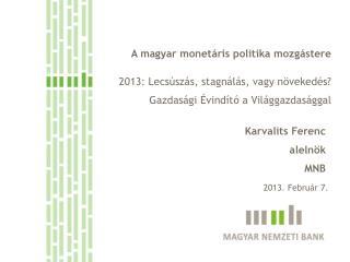 A magyar monetáris politika mozgástere 2013: Lecsúszás, stagnálás, vagy növekedés?