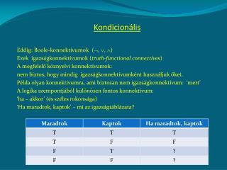 Kondicionális Eddig: Boole-konnektívumok  ( , , )