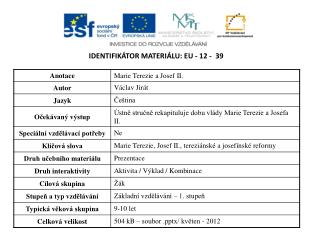 Identifikátor materiálu:  EU -  12  -   39