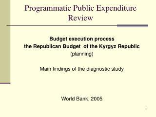 Programmatic Public Expenditure Review