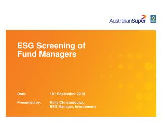 ESG Screening of  Fund Managers