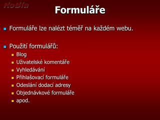 Formuláře