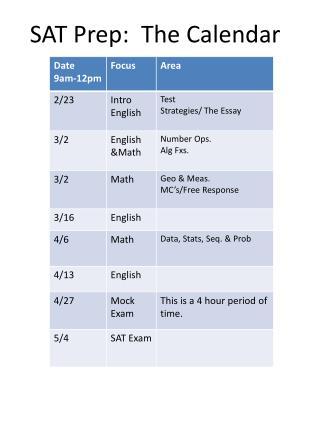 SAT Prep:  The Calendar
