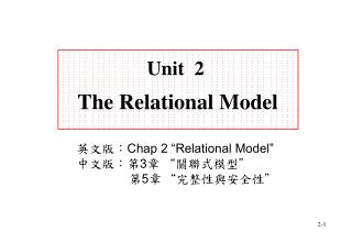 Unit  2 The Relational Model