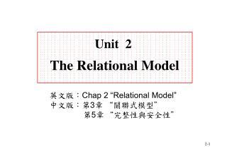 Unit  2 The Relational Model