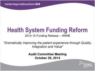 Health System Funding Reform
