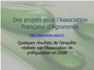 Des projets pour l�Association Fran�aise d�Agronomie