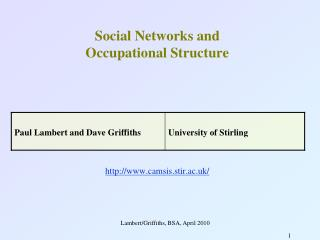 Social Networks and  Occupational Structure camsis.stir.ac.uk/