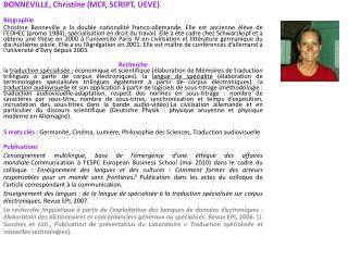 BONNEVILLE, Christine (MCF, SCRIPT, UEVE) Biographie