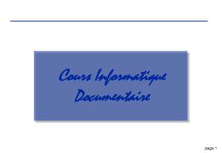 Cours Informatique Documentaire