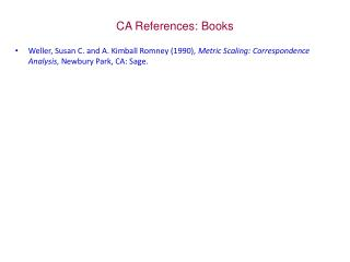 CA  References : Books