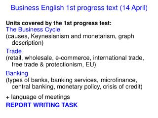Business English 1st progress  text ( 14  April)