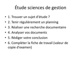 �tude sciences de gestion