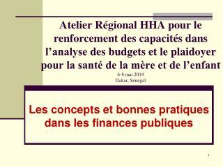 Les  concepts et bonnes pratiques dans les finances publiques