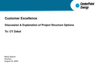Customer Excellence Discussion & Explanation of Project Structure Options To: CY Zebot