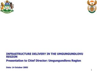 INFRASTRUCTURE DELIVERY IN THE UMGUNGUNDLOVU REGION Presentation to Chief Director: Umgungundlovu Region   Date: 14 Octo