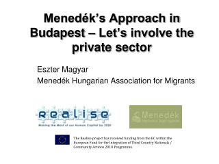Menedék's Approach in  Budapest – Let's involve the private sector
