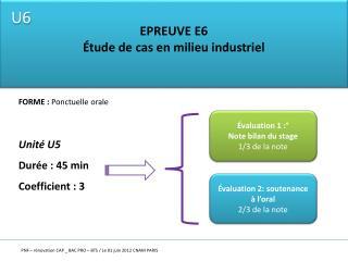EPREUVE E6 Étude de cas en milieu industriel
