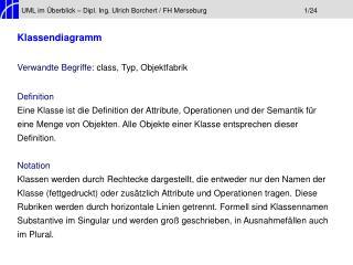 UML im Überblick – Dipl. Ing. Ulrich Borchert / FH Merseburg1/24