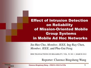 Effect of Intrusion  Detection  on Reliability