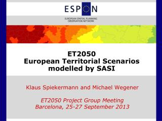 ET2050 European Territorial Scenarios modelled by SASI