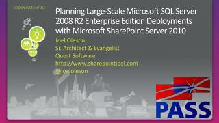 Planning Large-Scale Microsoft SQL Server 2008 R2 Enterprise Edition Deployments with Microsoft SharePoint Server 2010