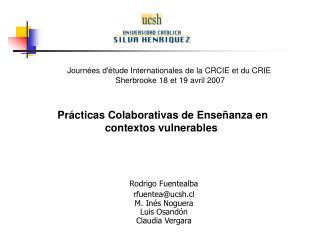Prácticas Colaborativas de Enseñanza en contextos vulnerables