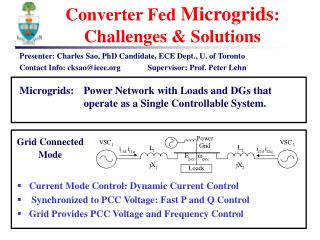 Converter Fed  Microgrids : Challenges & Solutions