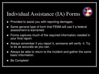 Individual Assistance (IA) Forms