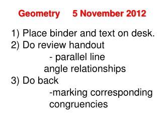 Geometry     5 November 2012