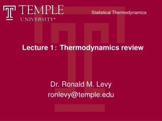 Lecture 1 :  Thermodynamics review