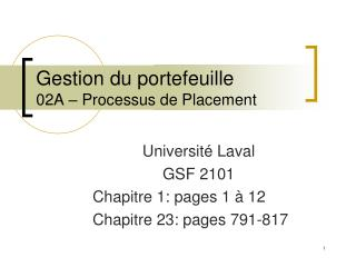 Gestion du portefeuille 02A � Processus de Placement