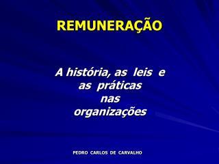 REMUNERAÇÃO A história, as  leis  e                as  práticas nas  organizações