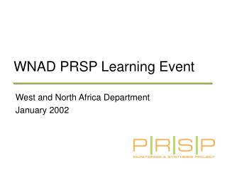 WNAD PRSP Learning Event