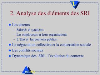 2. Analyse des �l�ments des SRI