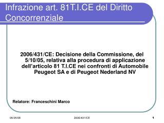 Infrazione art. 81T.I.CE del Diritto Concorrenziale
