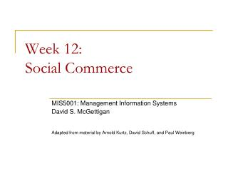 Week  12:  Social  Commerce