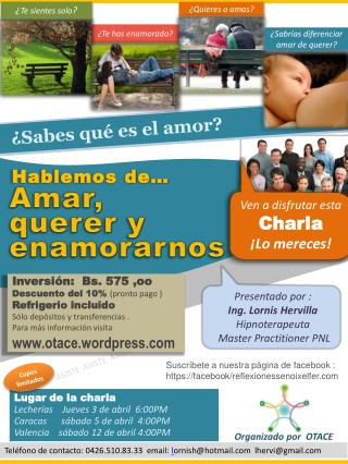 Lugar de la charla Lecherías    Jueves 3 de abril  6:00PM Caracas      sábado 5 de abril  4:00PM