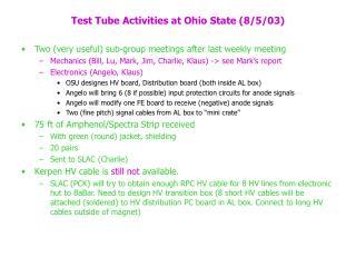 Test Tube Activities at Ohio State (8/5/03)