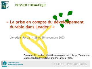 DOSSIER THEMATIQUE