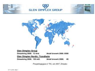 Glen Dimplex Group Omsetning 2006:   12 m rd.  Antall årsverk 2006: 8500