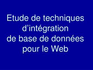Etude de techniques d'intégration de base de données pour le Web