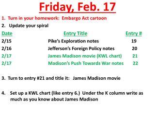 Friday ,  Feb.  17