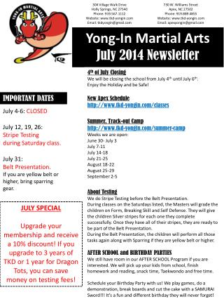 Yong-In Martial Arts  July 2014 Newsletter