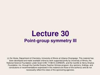 Lecture 30 Point-group symmetry III