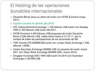El Holding de las operaciones burs�tiles internacionales